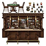 Club Pack of 180 Western Saloon Bar, Poker Table and Bottles Wall Decorations 63''