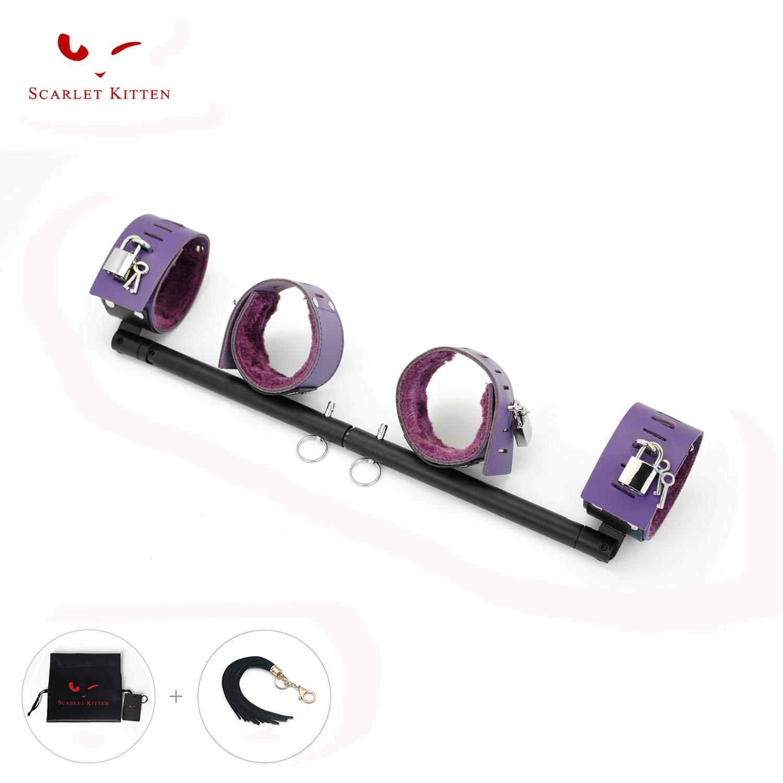 SCARLET KITTEN Exercise Spreader Bar with 4 Adjustable Straps Set, Black and Purple by SCARLET KITTEN