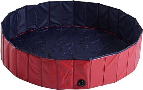 PawHut Piscina para Perros Mascotas Rojo PVC 140x30cm: Amazon.es ...