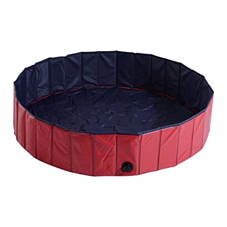 PawHut Piscina para Perros Mascotas Rojo PVC 140x30cm