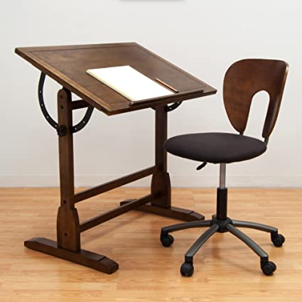Beau Studio Designs 42 In. Vintage Drafting Table And Chair Set