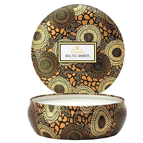 Voluspa Baltic Amber 3 Wick Decorative Tin Candle Voluspa Black Candle