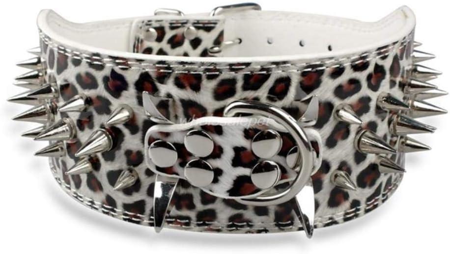 YLCWZD Collar Perros para 3 Pulgadas De AnchoCollar De Perro Collares De Cuero para Perros Pitbull Boxer Mediano Perros Grandes, Blanco, XL