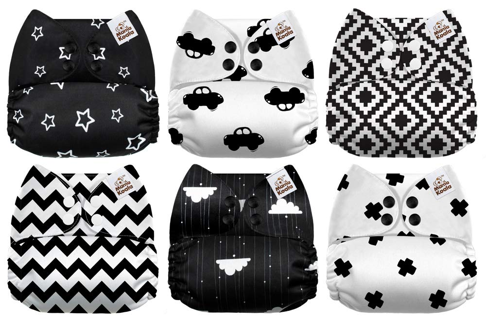 6 Pack with 6 One Size Microfiber Inserts Mama Koala One Size Baby Washable Reusable Pocket Cloth Diapers Black /& White