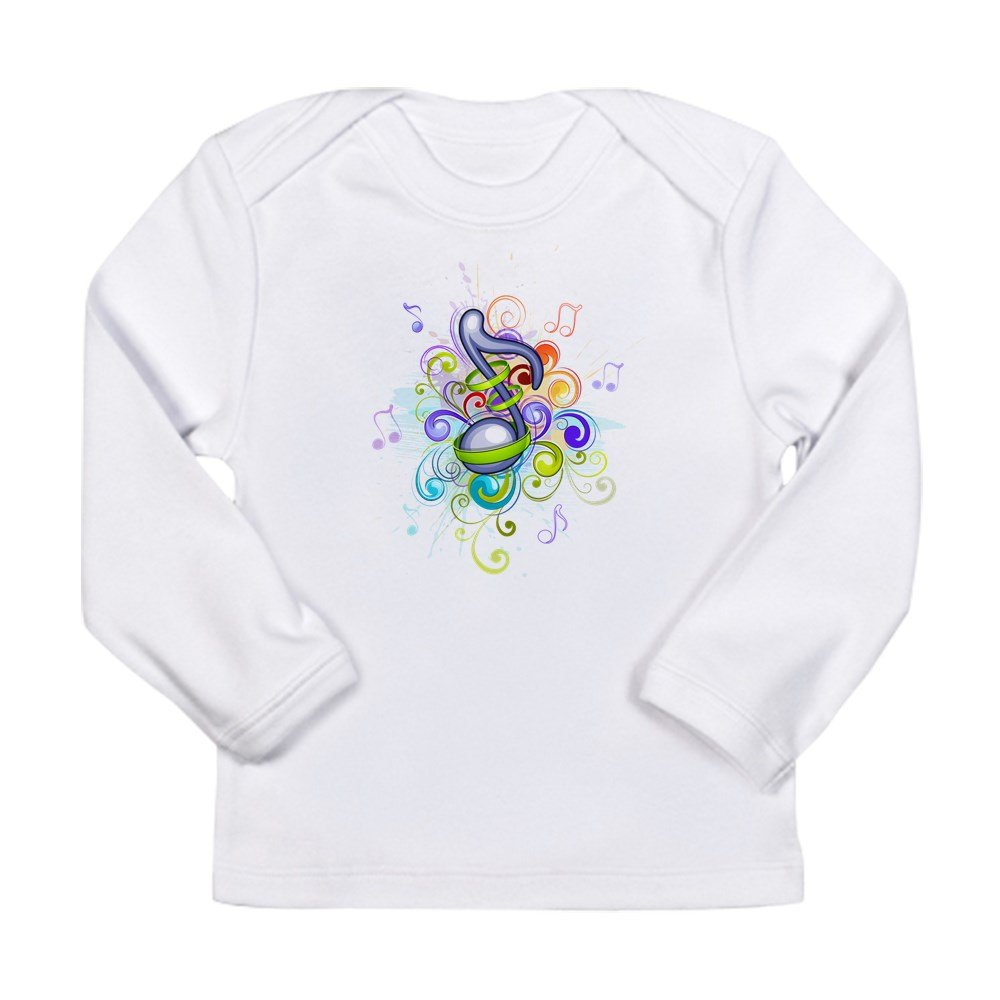 Cloud White 6 To 12 Months Truly Teague Long Sleeve Infant T-Shirt Music Note colorful Burst