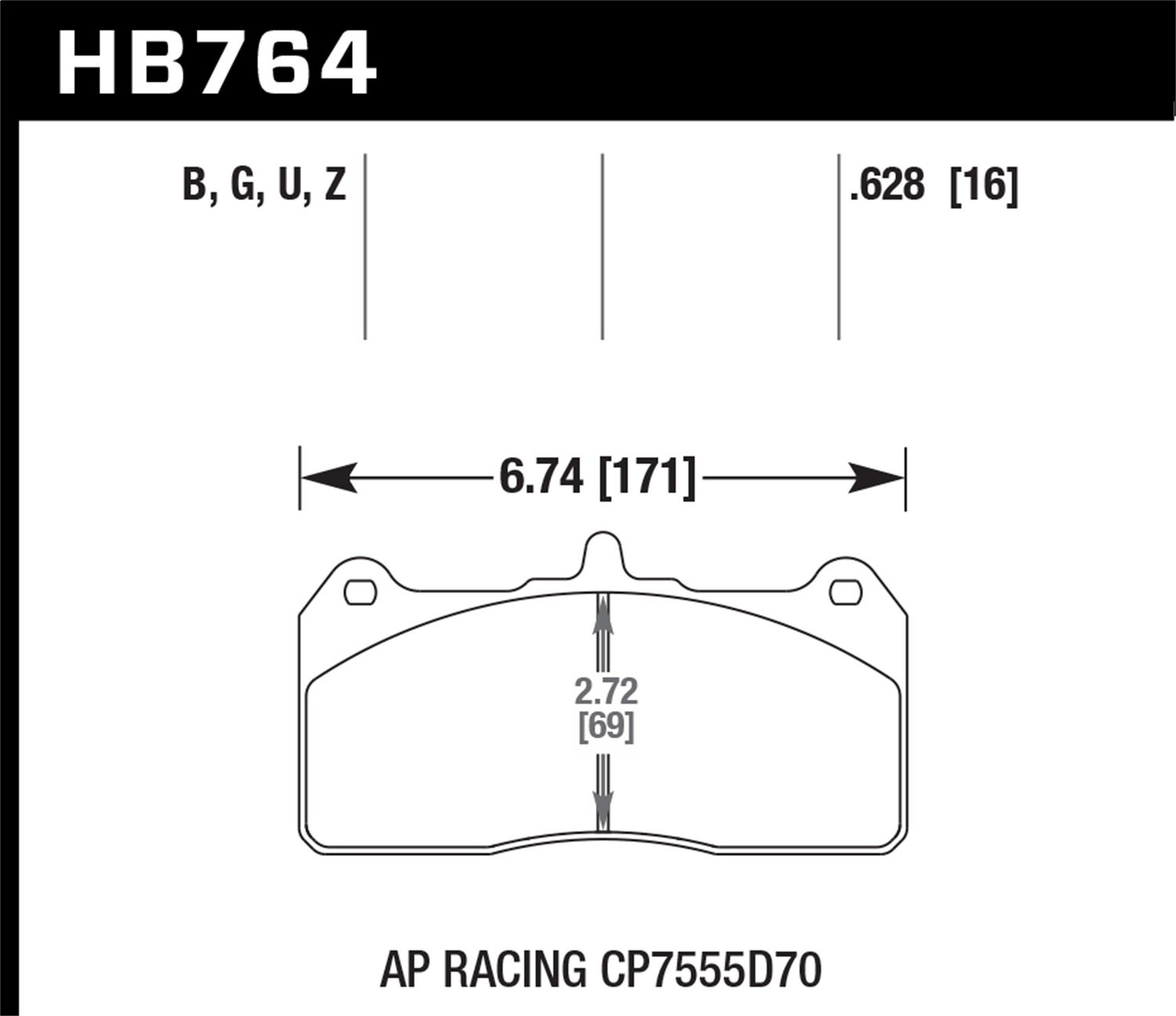 Hawk HB764B.628 Performance HPS 5.0 Brake Pad Hawk Performance