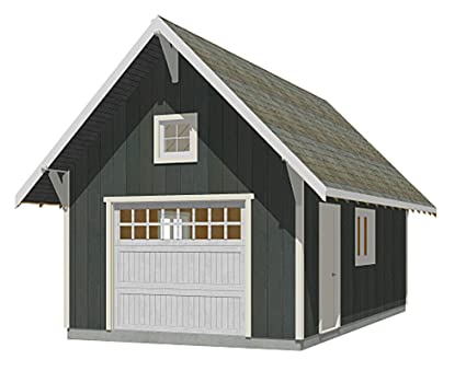 Amazon.com: Garage Plans : 1 Car Steep Roof Plan - 336-5 - 14' x 24 on carport with storage plans, woodworking plans, luxury home plans, foundation plans, gazebo plans, elevator plans, basement plans, arbor plans, adirondack chair downloadable plans, deck plans, shed plans, fitness center plans, workbench plans, 24 x 32 cottage plans, studio plans, great room plans, carport addition plans, floor plans, greenhouse plans, warehouse plans,