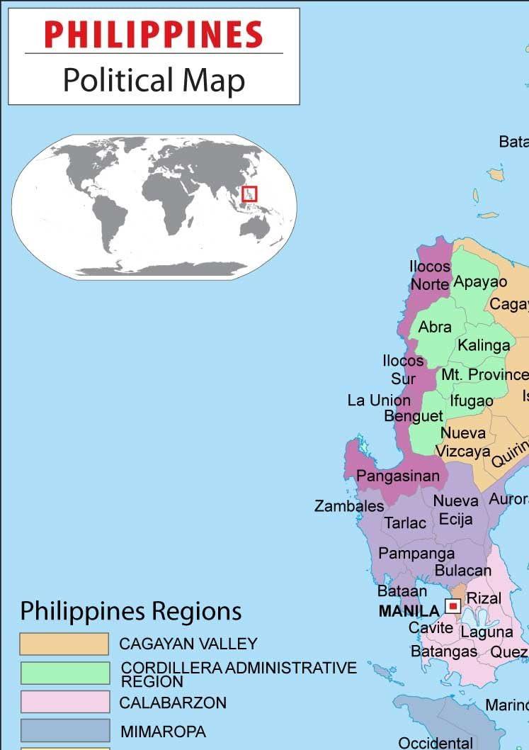 Amazon Philippines Political Map Laminated 36 W X