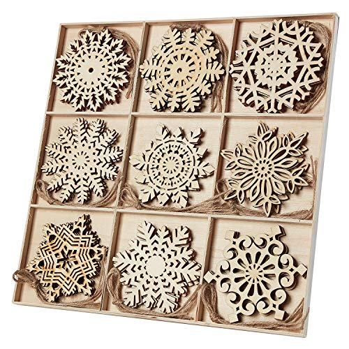N&T NIETING 27pcs Wooden Snowflakes Shaped Embellishments Hanging Ornaments for Christmas Decoration ()