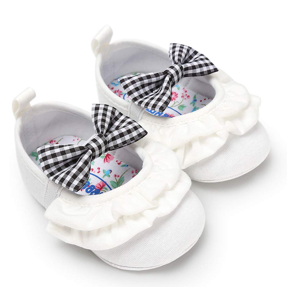 Infant Loafers Ruffle Soft Comfort Cotton Sole Boat Shoes Bowknot Mary-Jane Shoes First Walkers Shoe Memela