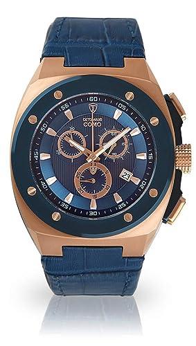 Detomaso como Hombre de Reloj de Pulsera Cronógrafo analógico de Cuarzo Pulsera de Piel Azul Esfera Azul dt1081 de B: Amazon.es: Relojes