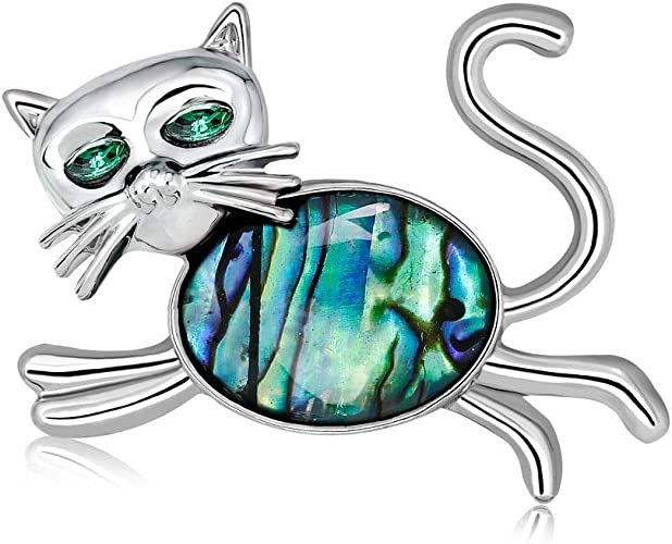 Retro Abalone Shell Brooch Pin Wedding Brida Bouquet Animal Cat Brooch Jewelry X