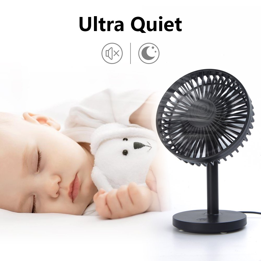 OURRY Desk Fan, Small Mini USB Table Desk Desktop Personal Fan, Quite Operation, 3 Speeds, High Compatibility, Cooling for Home, Office (Black) by OURRY (Image #3)