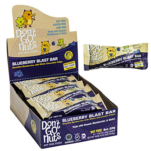 Don't Go Nuts Nut-Free Organic Snack Bars, Blueberry Blast, Blueberry with White Chocolate, 12 - Less Nut