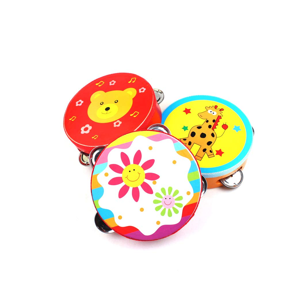 1pc Wooden Tambourine Hand Bell Drum Rattles Clap Drum Tambourine Toy Musical Percusion Instrument for Children Kid Baby (Random Color ) RUNFON
