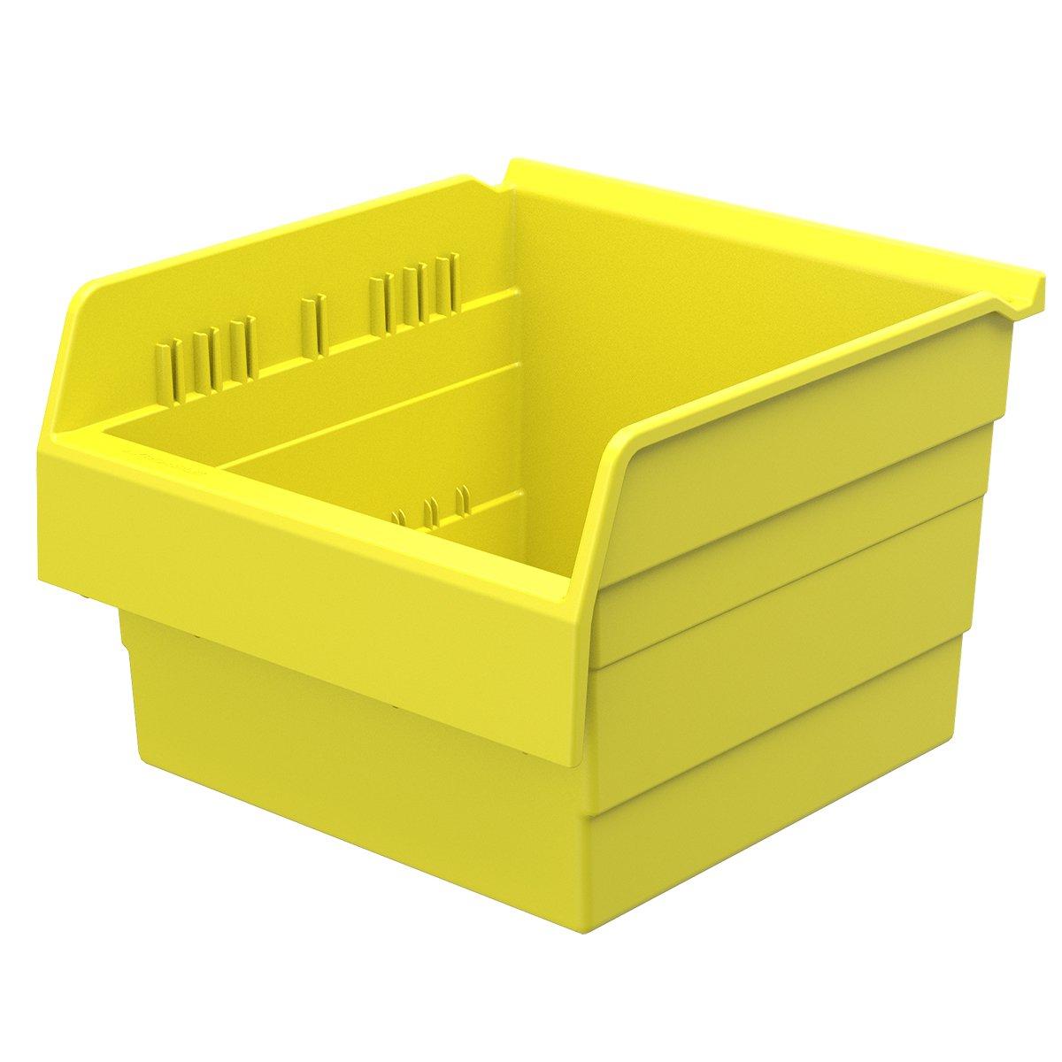 Akro-Mils 30800 ShelfMax 8 Plastic Nesting Shelf Bin Box, 12-Inch x 11-Inch x 8-Inch, Yellow, 4-Pack