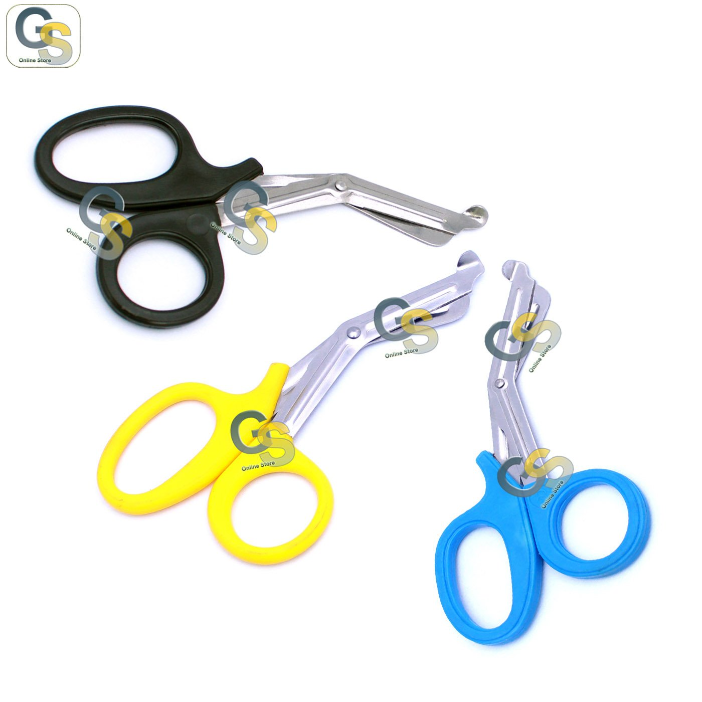 G.S 3 PCS (BLACK & YELLOW & SKY BLUE) PARAMEDIC UTILITY BANDAGE TRAUMA EMT EMS SHEARS SCISSORS 7.25 INCH STAINLESS STEEL