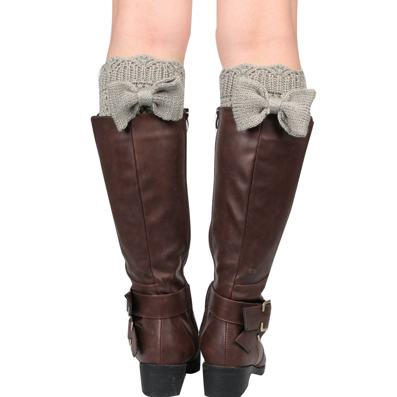 YAOSEN Women Bowknot Knitted Boots Socks Hollow Out Leg Warmer