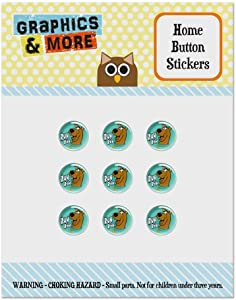 Scooby-Doo Ruh Roh Set of 9 Puffy Bubble Home Button Stickers Fit Apple iPod Touch, iPad Air Mini, iPhone 5/5c/5s 6/6s 7/7s Plus