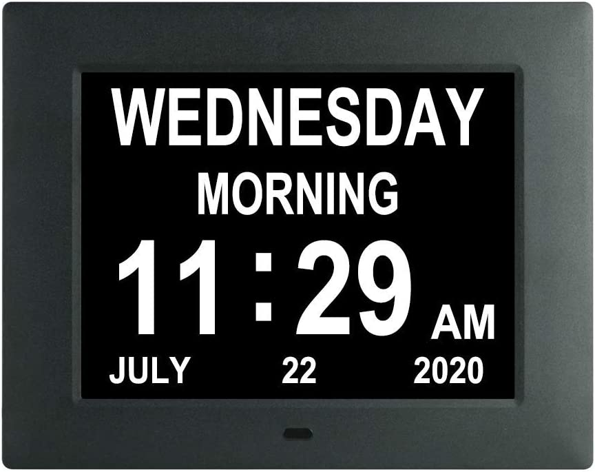 [2020 Newest] 7.5 Inch Extra Large Calendar Day Date Time Clock with Non-Abbreviated Day Month Dementia Clocks Perfect for Senior Vision impaired