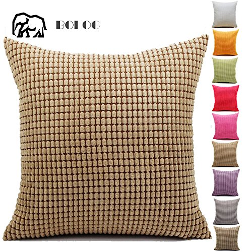 Home Sofa Bed Soft Corduroy Pillow Case Pillow Cover Cushion 10 Colors 65x65cm