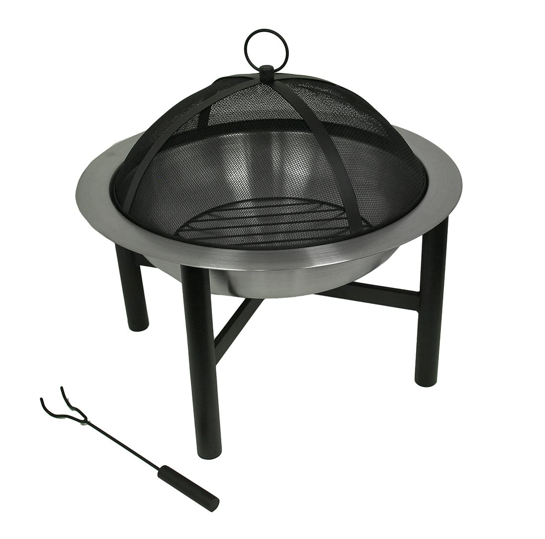 CobraCo Contemporary Round Fire Pit FBCICONT-S - Simple design make set-up a breeze Steel bowl with a polished metal finish Heavy duty spark guard cover included to prevent sparks from flying - patio, fire-pits-outdoor-fireplaces, outdoor-decor - 61pd28PuvtL -