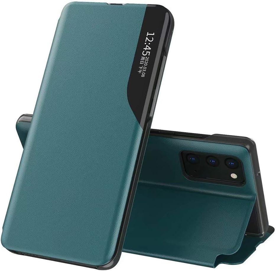 JIAFEI Funda Smart View para Xiaomi Poco M3, Prima Moda Delgado Tapa del Tirón Funda Espejo Carcasa con Clear Ventana Case Cover, Verde