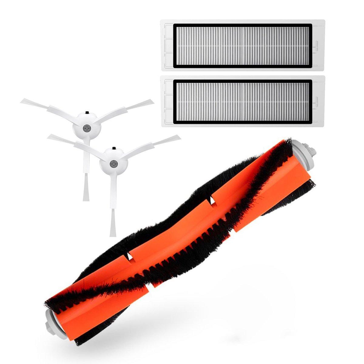 TeKeHom accessori 2* Side brushes + 2* filtri Hepa + 1* Spazzola principale di ricambio per Xiaomi Mi aspirapolvere robot