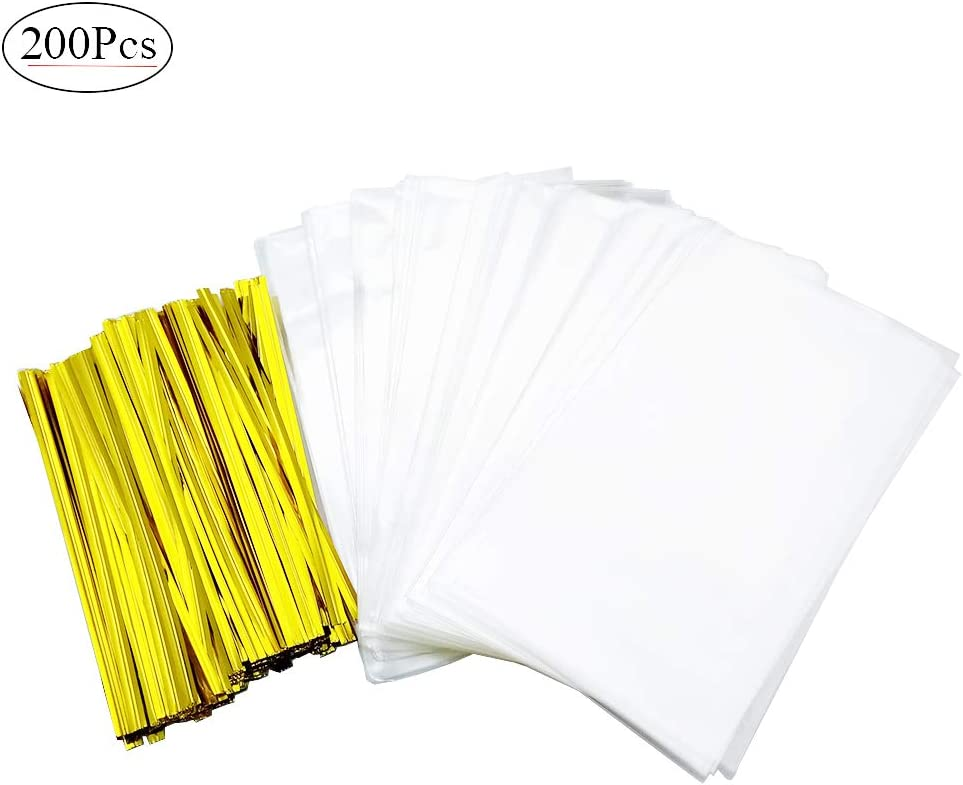 """200Pcs Treat Bags 3 x 5 Inches with 200 Pieces Twist Ties 4Inches, OPP Plastic Bags for Bakery Dessert Wedding Cookies, Pops Gift Candy for Candies,Dessert,Lollipop Candy. (3""""X5"""")"""