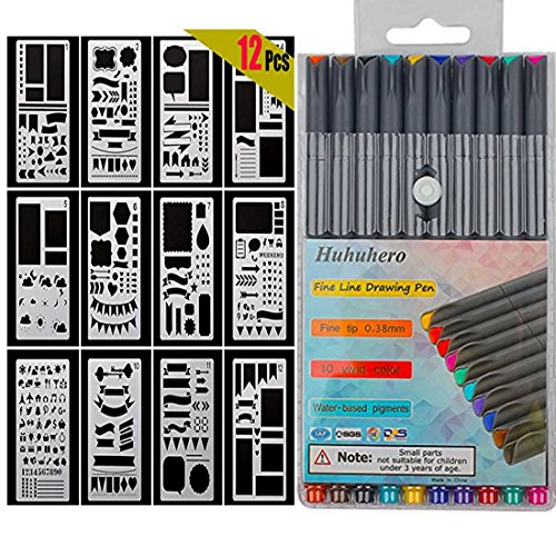 10-Colors Bullet Journaling Pens and 12-Pieces Drawing Stencils Perfect for Planner Bullet Journaling Writing Note Taking Notebook Diary Calendar and School Office Supplies (22 PCS) (22 pcs)]()