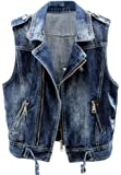 Kedera Women Sleeveless Motorcycle Biker Denim Vest Zip Jean Cropped Jacket