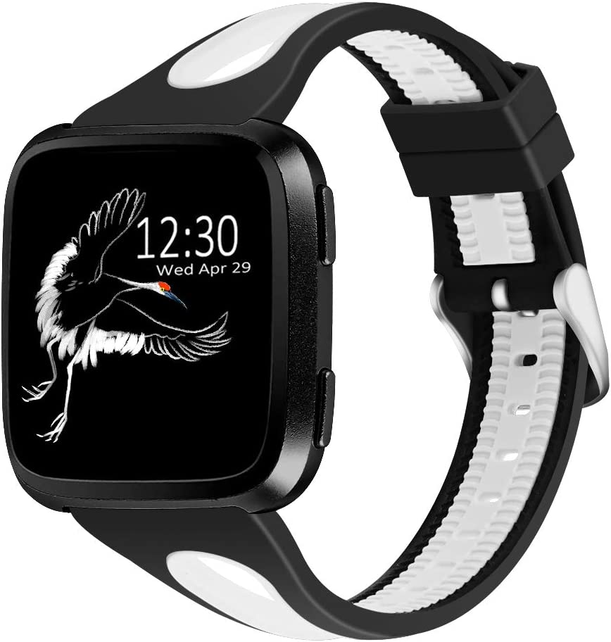Joyozy Sport Bands Compatible with Fitbit Versa 2&Fitbit Versa Lite&Fitbit Versa&Fitbit Versa SE Smartwatch,Silicone Small Breathable Soft Strap Replacement Wristbands for Women Black&White