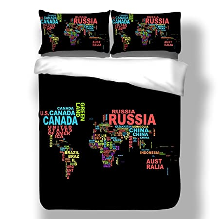 World map printing bedding set single bed size childrens kids world map printing bedding set single bed size childrens kids teenage boys girls duvet cover and gumiabroncs Images