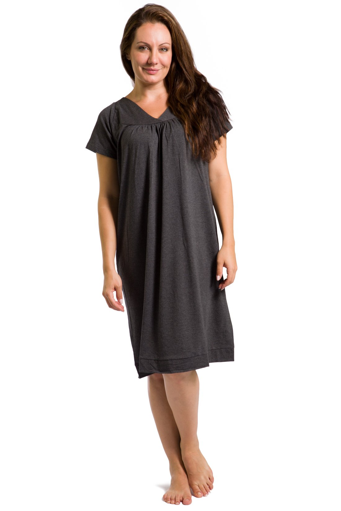 Fishers Finery Women's Tranquil Dreams Short Sleeve Nightgown Comfort Fit, Heather Gray, XX-Large