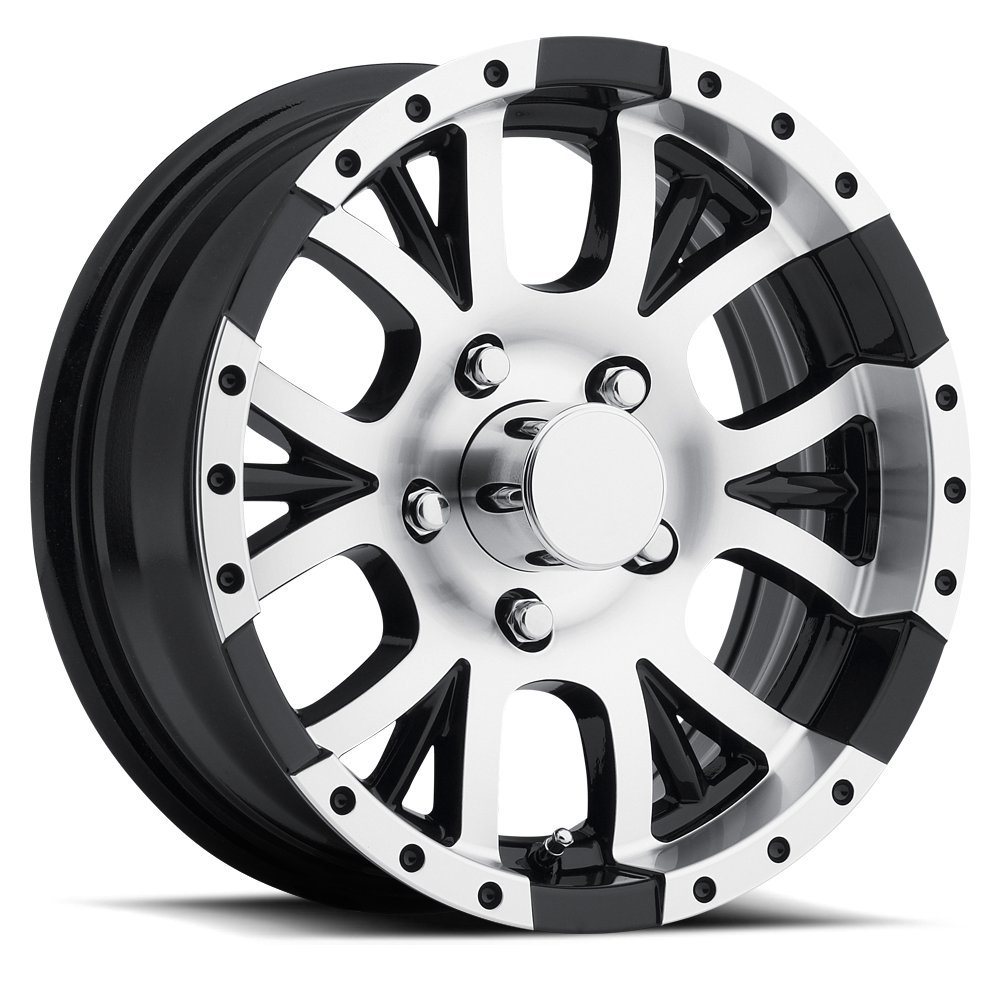 SENDEL T13 ALUMINUM TRAILER WHEEL WITH BLACK MACHINED FINISH 15X6 5X4.50(114.3)  +0 3.19