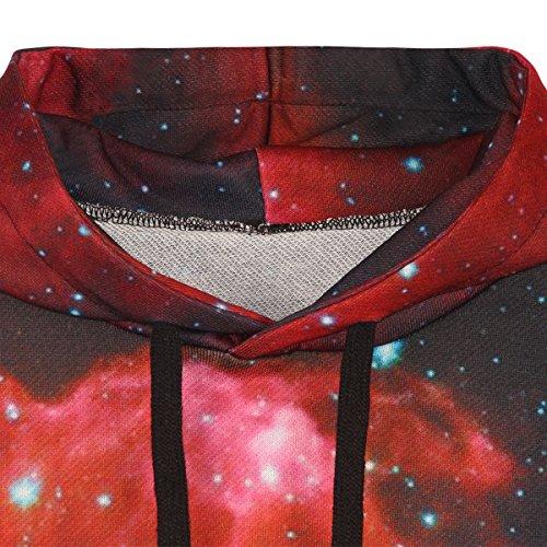 Sasairy Sudadera con capucha de manga larga, con bolsillos grandes, con impresión 3D Galaxy Red