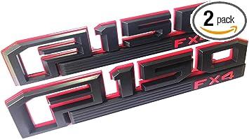 2x Red Black F150 Badge Fender Side Emblem Side F-150 XLT Raptor For Ford