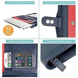 Wundermax Portfolio Padfolio/Leather Portfolio Zippered Closure - Bonus Bookmarks & Writing Pad - 13 Inch Tablet/Laptop Sleeve - Professional Business Gift (Slim Blue)