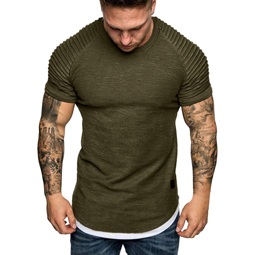 Fashion Men's Comfort Soft Short Sleeve T-Shirt, ANKOLA Summer Pleated Slim Fit O Neck Raglan Tops Blouse Army Green by ANKOLA STORE (Image #2)