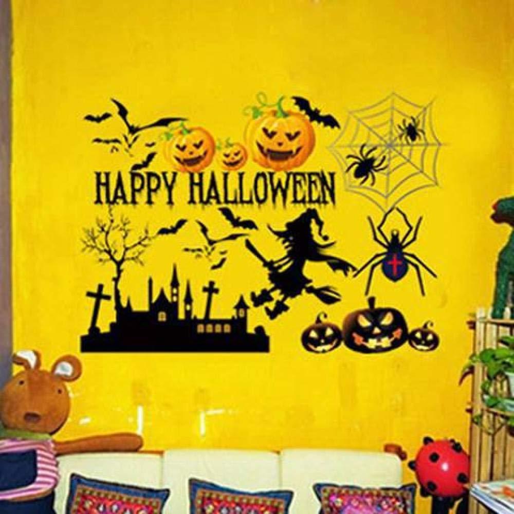 WISDOM Adesivo Decorativo Adesivo Di Halloween Zucca Pipistrello Strega Adesivo Da Parete Fantasma Adesivo In Vetro Stereo 3D, 12, Taglia unica