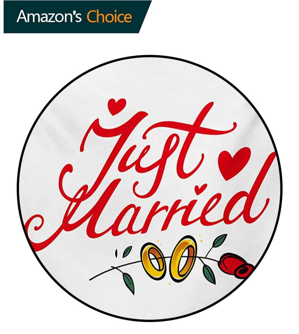 RUGSMAT Wedding Computer Chair Floor Mat,Just Married Hand Writing in Red and Rose with Wedding Rings Celebration Printed Round Carpet for Children Bedroom Play Tent,Diameter-71 Inch