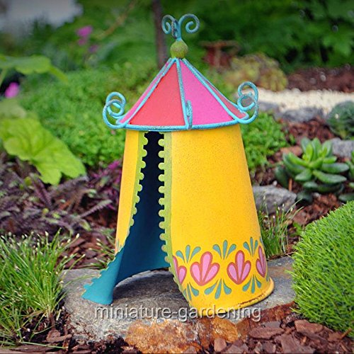Tent Cottage Kids Furniture (Miniature Fairy Garden Play Tent - My Mini Garden Dollhouse Accessories for Outdoor or House Decor)