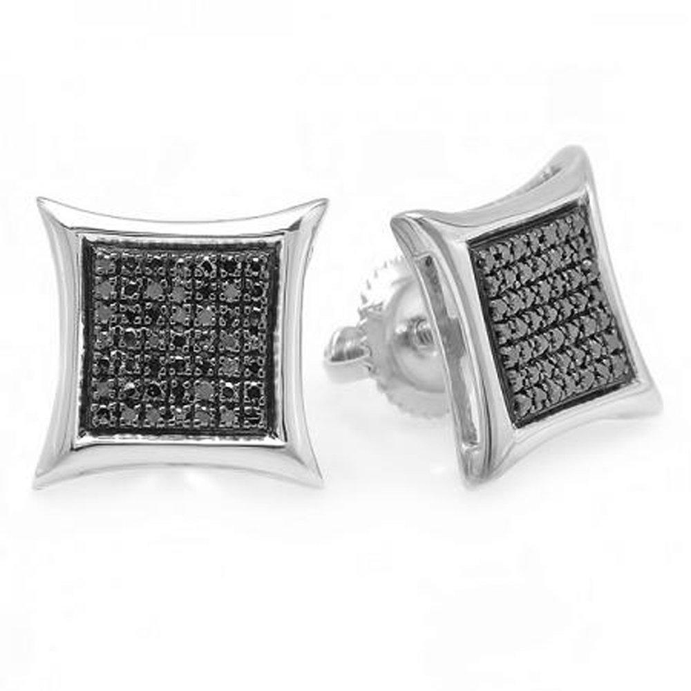 Dazzlingrock Collection 0.25 Carat ctw Black Round Diamond Micro Pave Setting Kite Shape Stud Earrings 1//4 CT