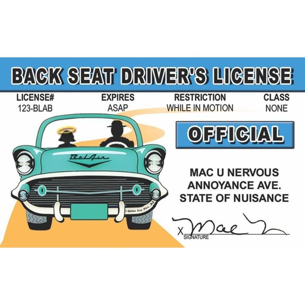 amazon com signs 4 fun nbsid2 back seat driver u0027s license home