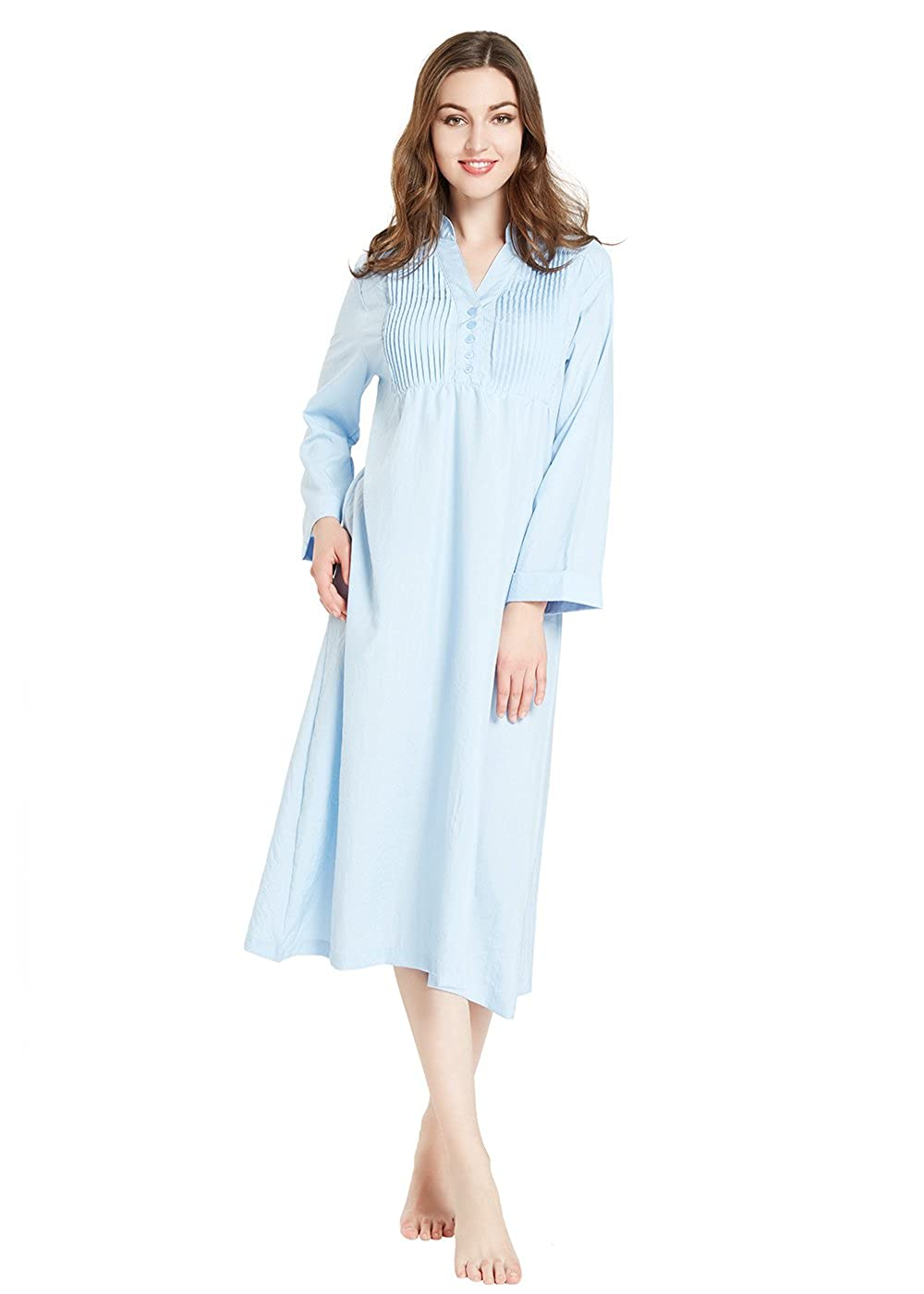 lantisan Cotton Knit Long Sleeve Nightgown for Women, Henley Full Length Sleep Dress TB002