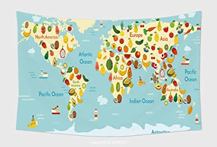 Amazon home decor tapestry wall hanging fruit world map and home decor tapestry wall hanging fruit world map and vegetables vector illustration preschool baby continents oceans gumiabroncs Gallery