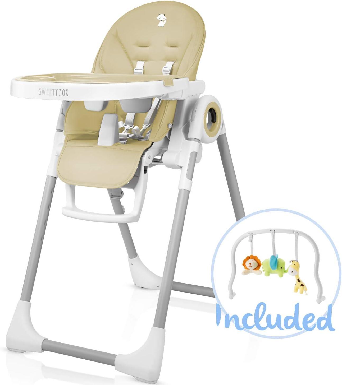 Chaise Haute pour Bebe Evolutive, Reglable et Pliable 7 Hauteurs Différentes, Dossier Enfant Inclinable 5 Positions, Tablette Amovible, Plateau