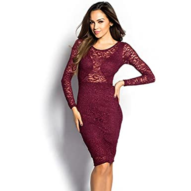33b099ea Image Unavailable. Image not available for. Color: Women's Claret Sparkly  Long Sleeve Lace Cut out Midi Dress