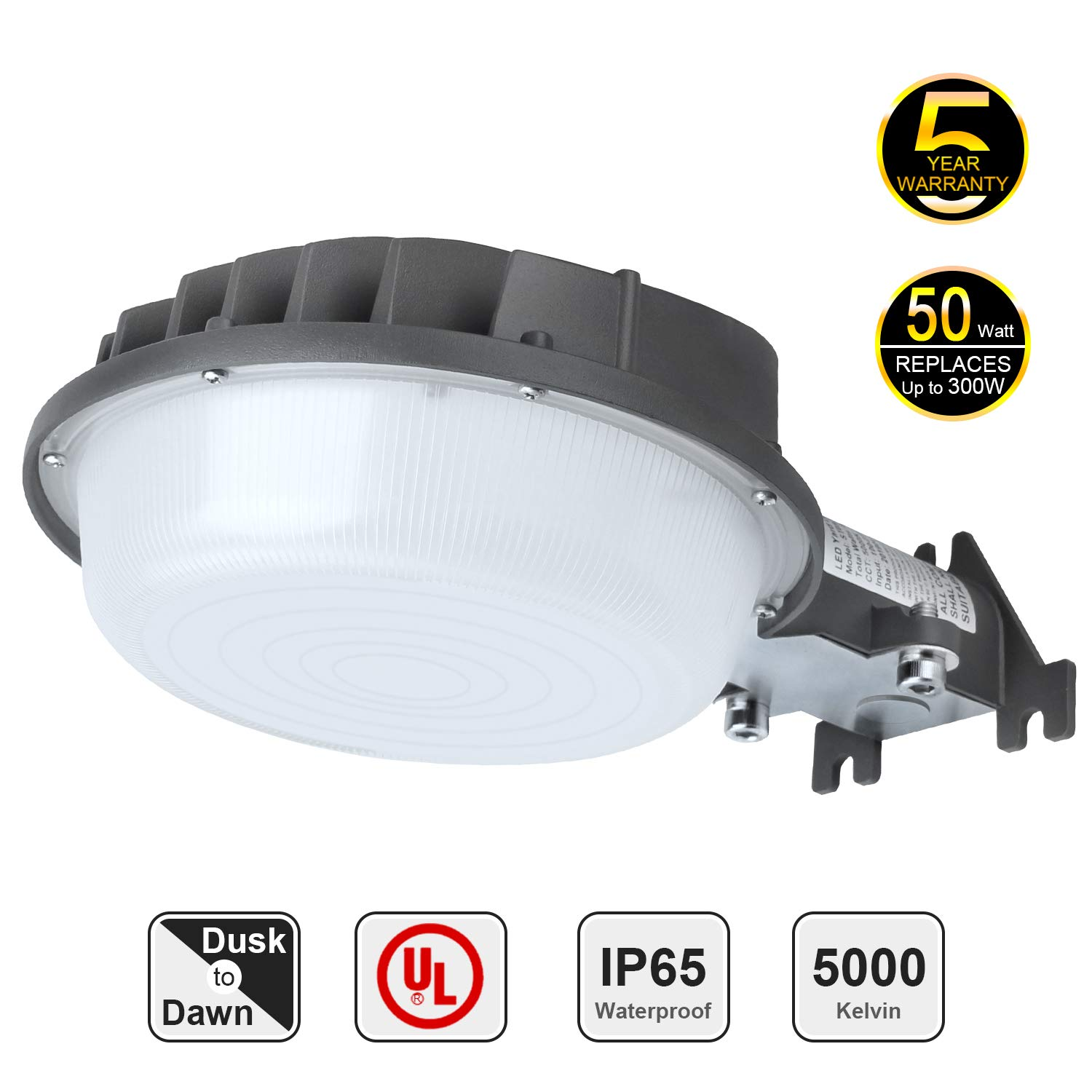 5000K Daylight 7140Lm LED Area Light 80W Dusk to Dawn Yard Light Outdoor Security Area Light Perfect Barn Light with Photocell 400W Mercury Vapor//160W MH Equiv.