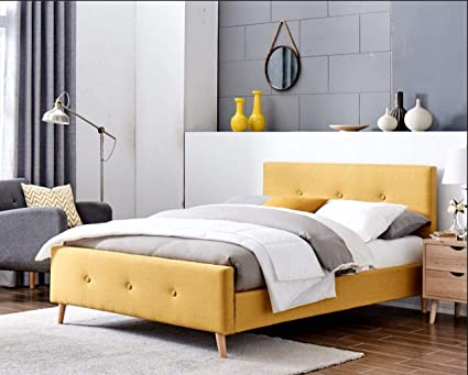 Mobilier Deco - Cama escandinava de tela amarilla con somier (140 x 190 cm), color amarillo